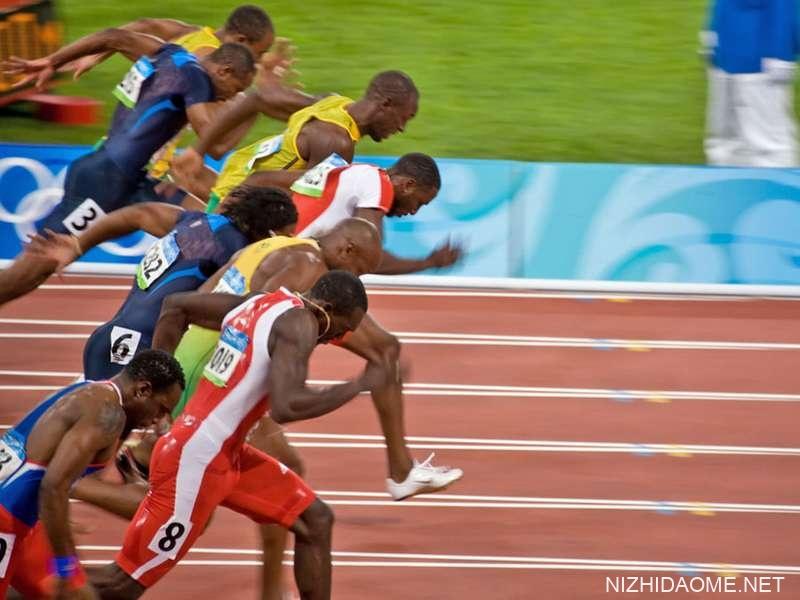 男子100米短跑的起点,美国博尔特在2008年8月18日在中国北京举行的2008年夏季奥运会上获胜,并刷新了世界纪录。
