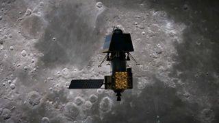 从艺术家的角度来看,印度着陆器Vikram靠近月球表面。