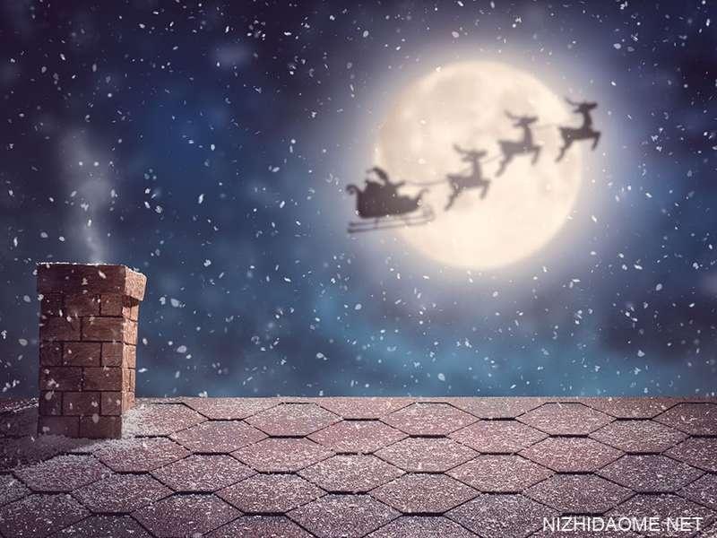 圣诞老人在他的雪橇,圣诞节,驯鹿飞