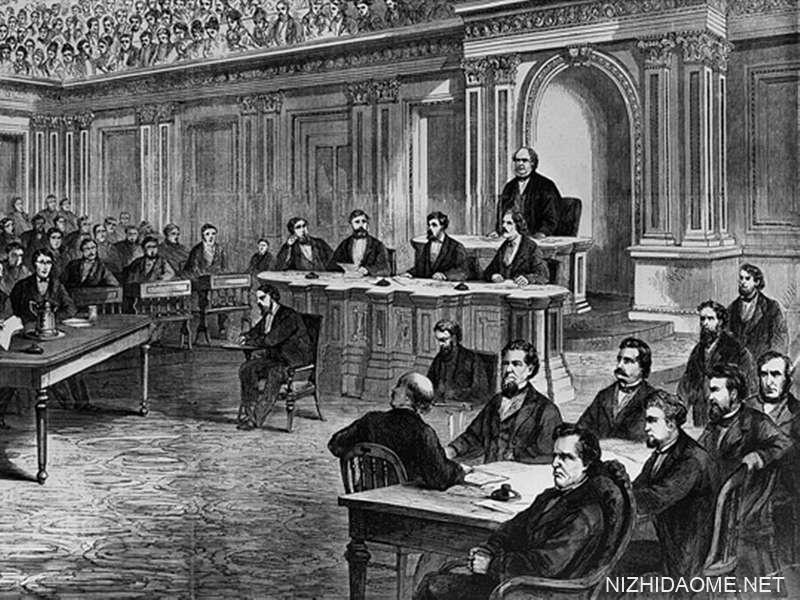 Pres的弹each审判。 安德鲁·约翰逊(Andrew Johnson),来自弗兰克·莱斯利(Frank Leslie)的插图报,1868年3月28日。