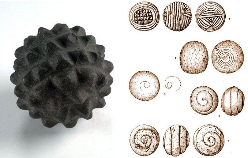 左:这个雕刻的石球是奥克尼(Orkney)的Skara Brae上发现的几种精美的雕刻石器之一。 它是一个声望很高的物体,其历史可追溯至公元前3400年至2000年。 石球上覆盖着50个金字塔形旋钮。 000-100-040-497-C。 学分:苏格兰国家博物馆; 右:工件,