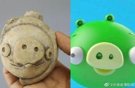 三星堆出土陶猪成网红:神似《愤怒的小鸟》中反派绿猪!